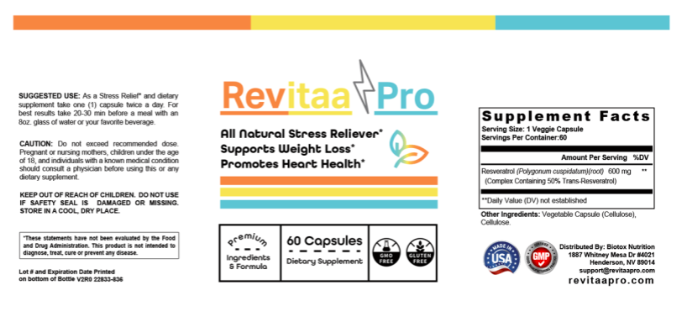 revitaa pro ingredients label